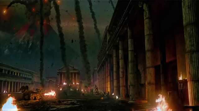 Ricostruzione di Pompei durante l'eruzione del Vesuvio (web)